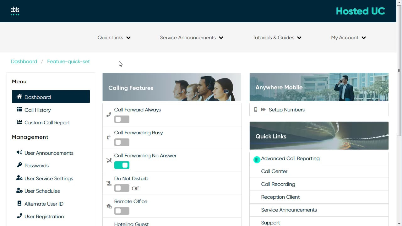 End User Videos, CBTS Hosted UC Support Portal